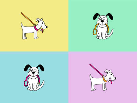 dog leash: Dog walking cartoon character