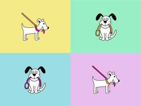 perros graciosos: Perro personaje de dibujos animados caminar