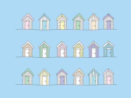 beach huts: Beach huts - hand drawn Illustration