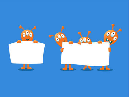 invade: Cute Aliens holding a white sign Illustration
