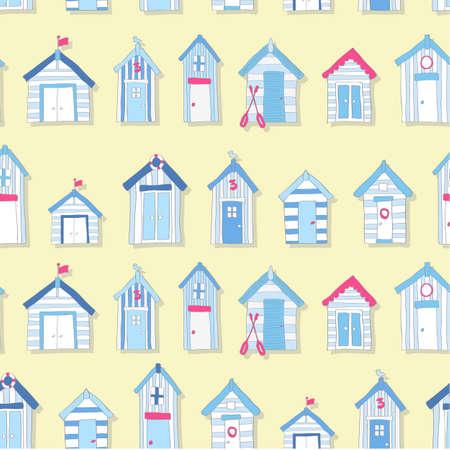 wooden hut: Hand Drawn Beach Huts in a Seamless Pattern