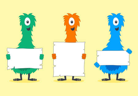 furry: Cute Colorful Furry Creatures Holding Blank White Signs Illustration