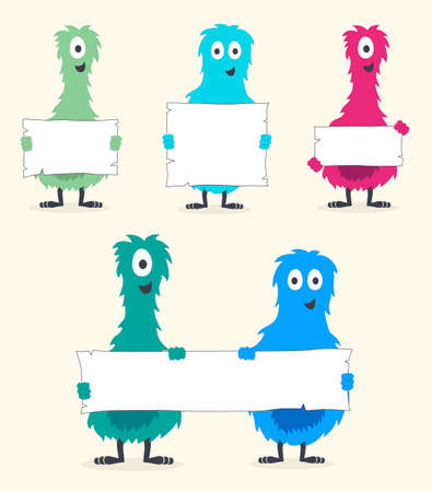 A Cute Set of Colorful Furry Monsters Holding Blank White Signs Illustration