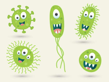 microbial: A set of cute green germ characters
