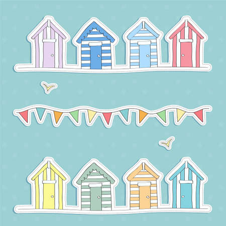 wooden hut: Beach Hut and Bunting Vector