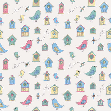 aviary: A set of cute bird houses and birds in a repeat pattern Illustration