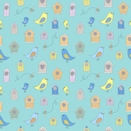 aviary: Cute bird houses and birds in a repeating, seamless pattern
