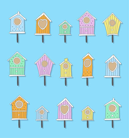 multiple house: A set of hand drawn bird houses