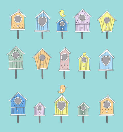 aviary: A set of hand drawn bird houses