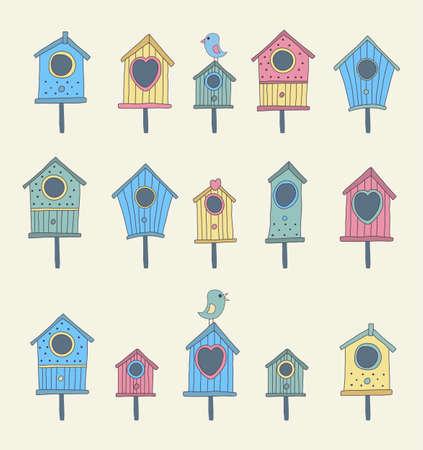 forme: Un ensemble de maisons d'oiseaux dessinés à la main Illustration
