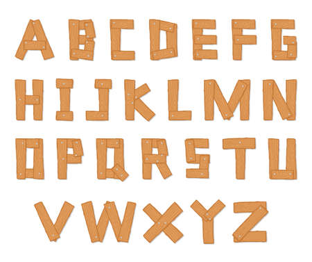 alphabets: Hand Drawn Wooden Alphabet - Vector