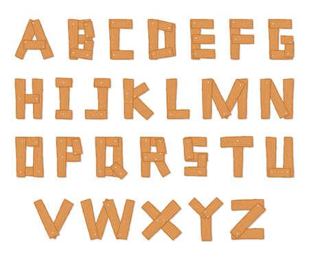 손으로 그린 나무 알파벳