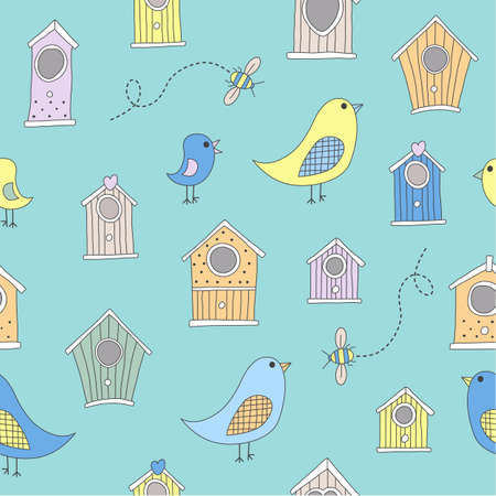 aviary: A set of cute bird houses and birds in a repeat pattern Stock Photo