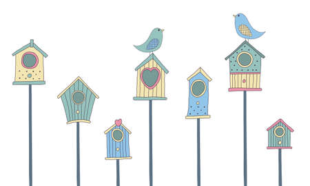 row houses: A set of cute bird houses and birds in a row