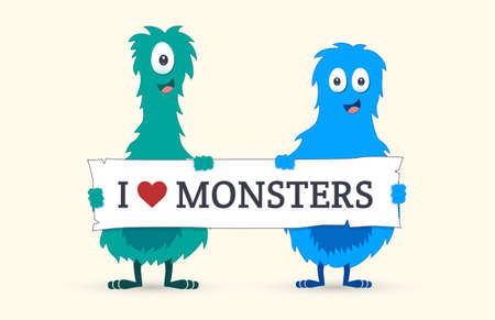 cute love: Cute monsters holding a I love monsters sign - Vector illustration
