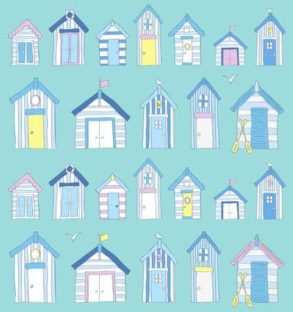 coast: Hand Drawn Blue, Pink and Yellow Beach Huts