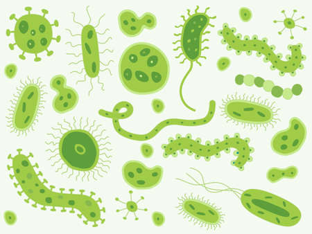 germs: Hand drawn green bacteria and germs Illustration