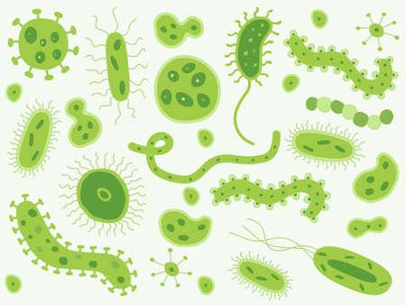 Hand drawn green bacteria and germs 版權商用圖片 - 46623814