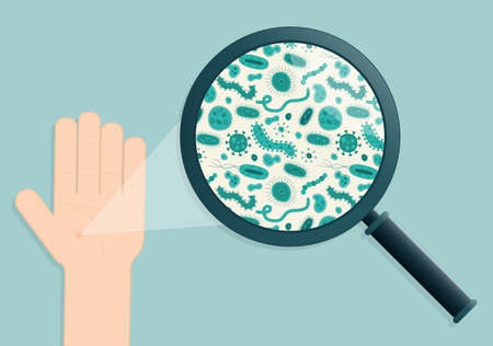 microbial: Green germs on a hand being viewed in a magnifying glass  Illustration