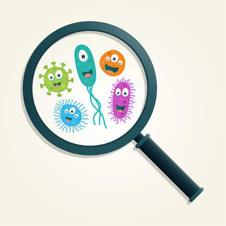 virus organism: Colorful germs and magnifying glass - Vector illustration