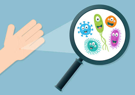 microbial: Colorful germs on a hand being viewed in a magnifying glass - Vector illustration Illustration