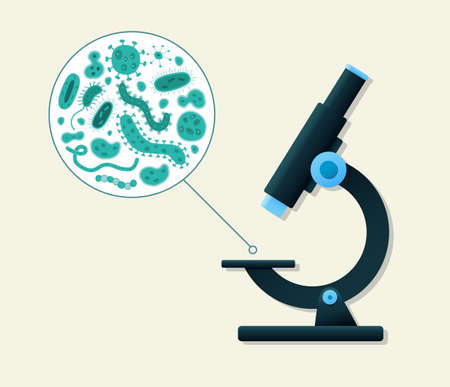 bacteria microscope: Blue germs being viewed by a microscope
