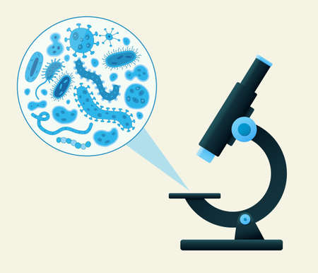 microscope viewing blue germs Illustration