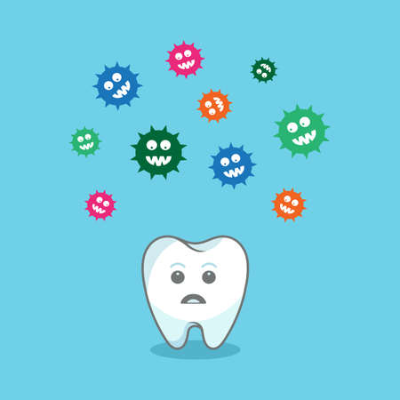 bacteria cartoon: colorful bacteria attacking tooth Illustration
