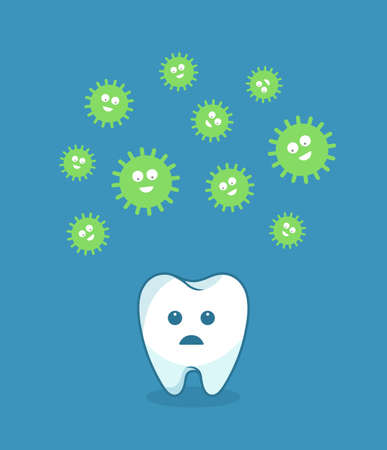 bacteria tooth: Green bacteria attacking white tooth