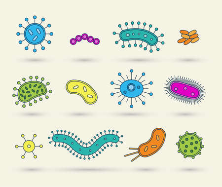 bacteria: bacteria, virus, germs icon vector illustration set