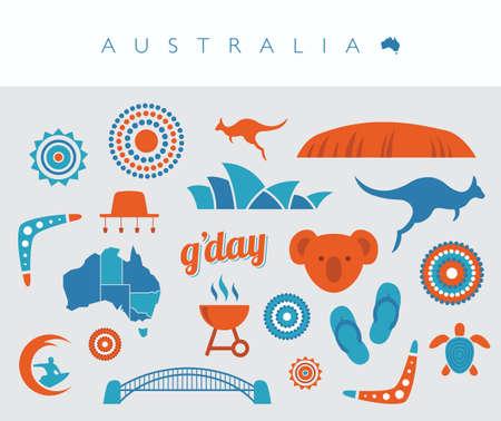 oz: Blue and orange Australia icon set
