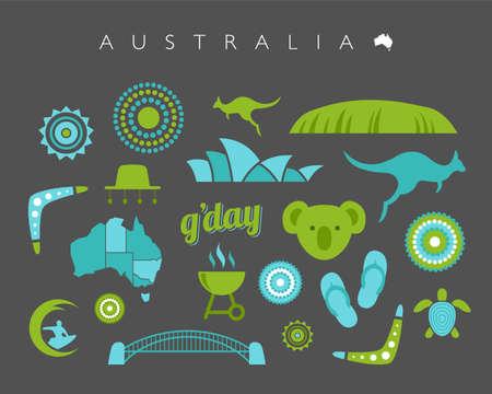 oz: Blue and green Australia icon set