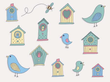 forme: Un ensemble de maisons et d'oiseaux d'oiseaux mignons Illustration