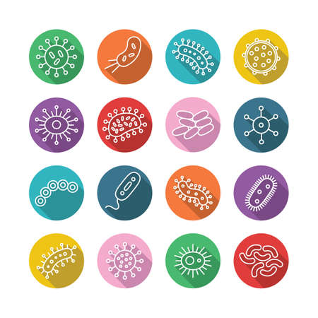 allergens: Germs and Bacteria Icon Set - vector illustration