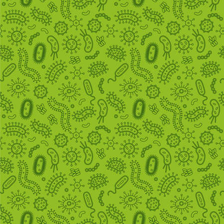 microbial: Green Bacteria and germs in a repeat pattern