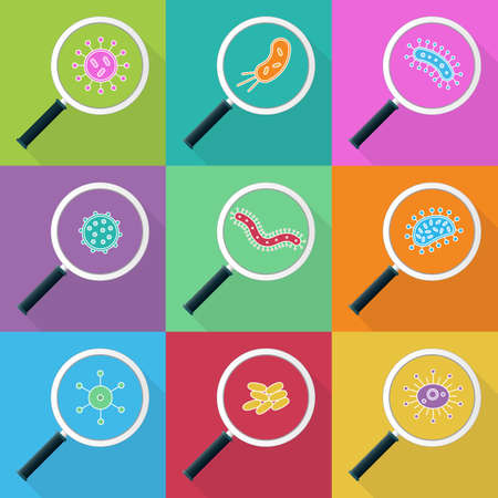 escherichia: Germs and magnifying glass icon Set - illustration