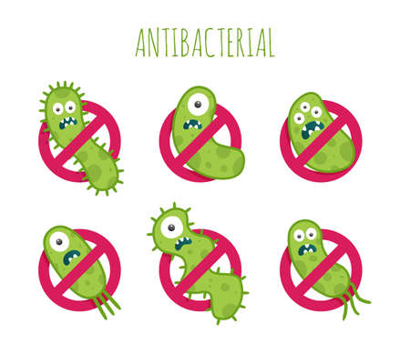 Antibacterial: Antibacterial sign with green bacteria illustrations. Isolated illustration Illustration