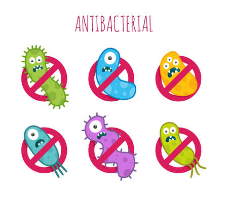 antibacterial: Antibacterial sign with colorful bacteria. Isolated illustration.