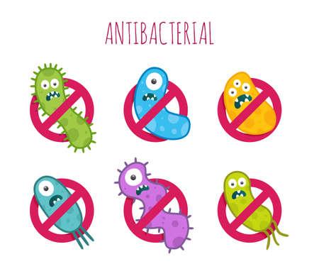 segno antibatterico con i batteri colorati. Illustrazione isolato.