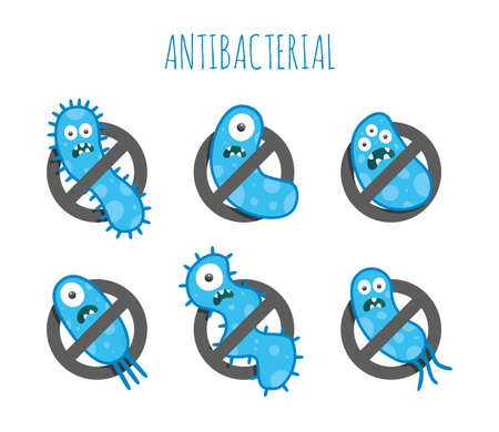 antibacterial: Antibacterial blue germs. Isolated illustration.