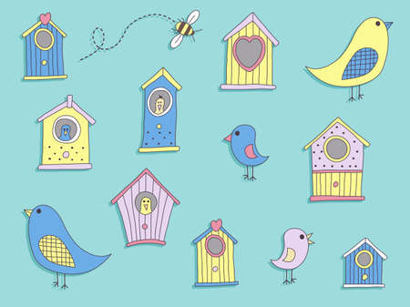 aviary: A set of cute bird houses and birds