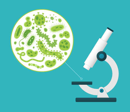 Green germs being viewed by a white microscope - illustration