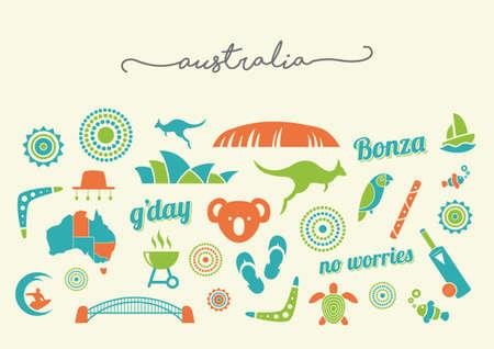 oz: Australia icon set - vector illustrations
