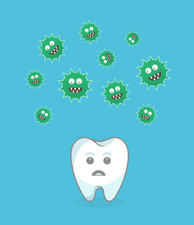 attacking: Green bacteria attacking white tooth - vector illustration