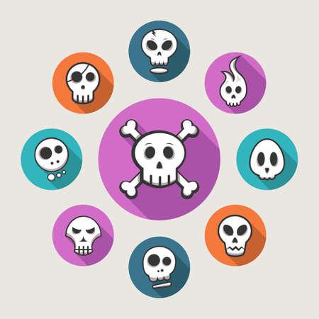 Skull icons - vector illustration