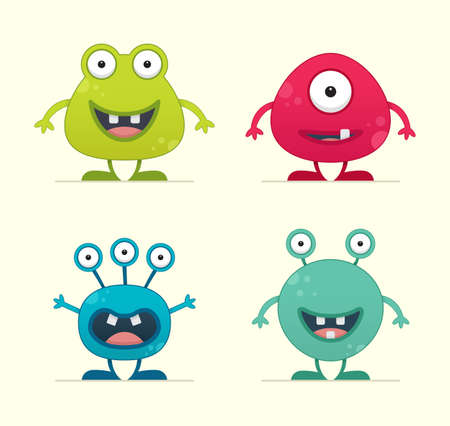 Cute Creature Set - vector illustration 向量圖像