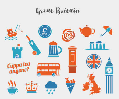 dinghy: Orange and blue Great Britain icon vector set. Flat icons for web and mobile