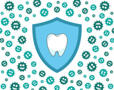 Shield protecting tooth against green germs  bacteria