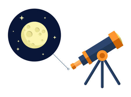 Space telescope looking at moon and stars - vector flat icon - astronomy Vettoriali