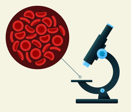 Microscope viewing Red blood cells. Vector illustration. Medical background. Illustration
